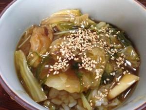 イノシシ角煮たれで作った中華丼
